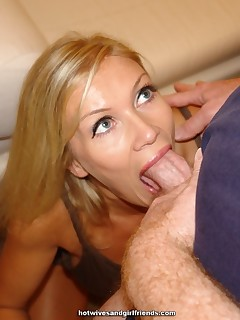 Horny blonde housewife craving for cum on her pussy