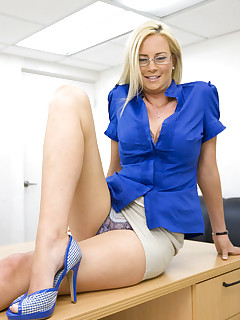 Hot blonde milf gets hard anal fucking in the office
